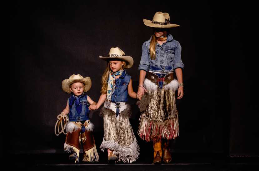 "While offering much more than ""cowboy couture,"" the Western Design Exhibit + Sale fashion show does include fresh takes on a Wild West theme like these fun fringed kids' chaps from Whoa Pony Chaps."